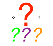 Different colour and sized question marks