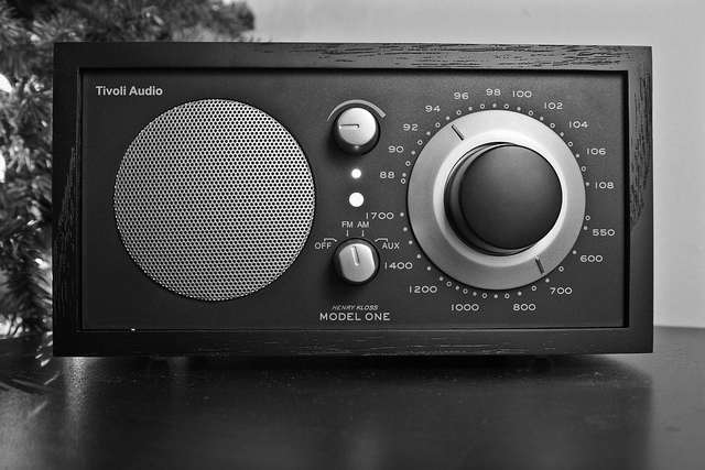 Black radio, taken in black and white. Image by S Diddy