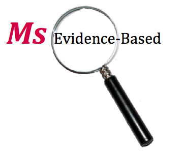 Ms Evidence-Based outlined with a magnifying glass