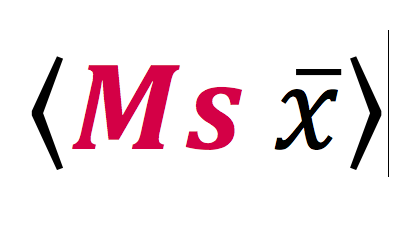 Mathematical symbols for 'average' with the word 'Ms' highlighed to create the meaning, 'Ms Average'.