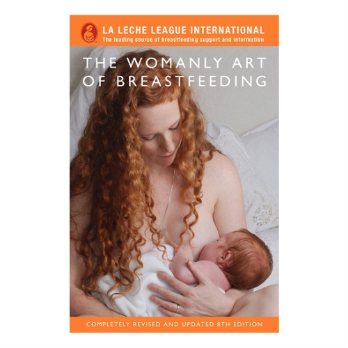 Womanly Art of Breastfeeding book cover - orange surround with red-haired woman breastfeeding her baby on the cover